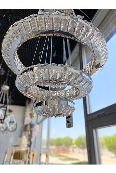 Bala Sarkıt Kristal LED Oval 3 Kat Avize