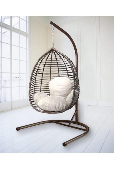 By Swings Rattan Bahçe Salıncağı Kahverengi