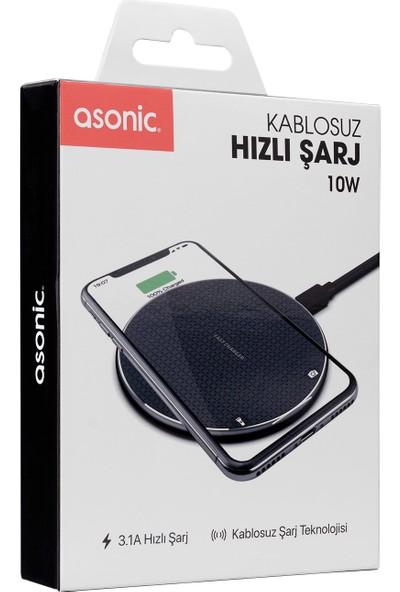 Asonic AS-W120 Hızlı 10W Masa Üstü Siyah Kablosuz Şarj Cihazı