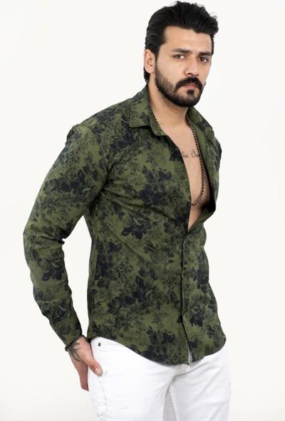 Deepsea Yeşil Erkek Gül Desenli Uzun Kol Likrali Gömlek 2101853