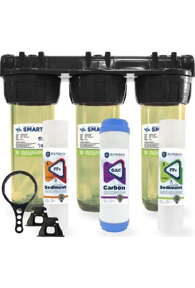 Hanedan Smart 10 Inç 3'lü Çift Karbonlu Daire ve Bina Girişi Su Arıtma Sistemi