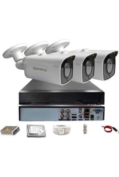 Qromax Pro 6224 3' Lü 5 Megapiksel Sony Lens 1080P Aptina Sensör Metal Kasa Güvenlik Kamerası Seti