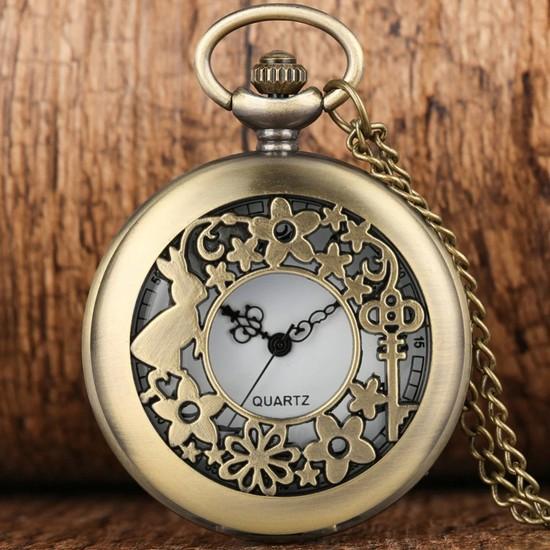 Hediyesahibi Hediye Sahibi Retro Alice Harikalar Diyarında Kabartmalı Quartz Köstekli Kolye Saat