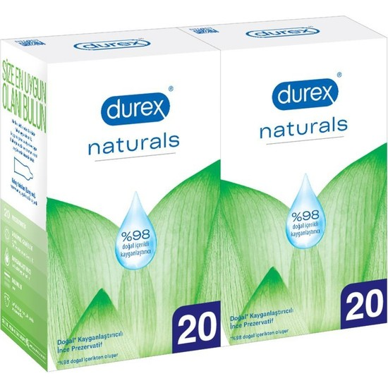 Durex Naturals 40'lı Doğal Kayganlaştırıcılı İnce Prezervatif