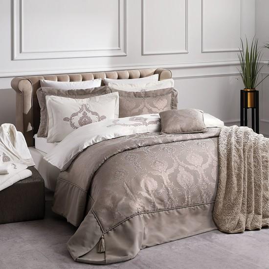 Yataş Bedding Sofia Nakışlı Nevresimli ve Yatak Örtülü 10 Parça Çeyiz Seti - Vizon