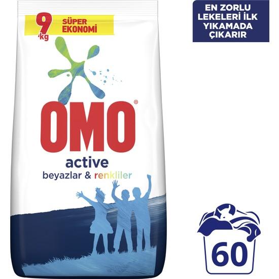 Omo Active Toz Çamaşır Deterjanı Beyazlar ve Renkliler 9 KG 60 Yıkama
