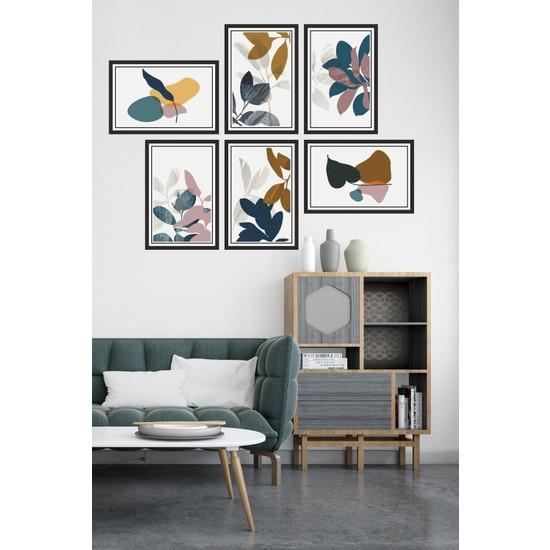 Dekor Sevgisi 6 Parça Çerçeve Görünümlü Renkli Çiçek Desenli Modern Pvc Tablo Seti