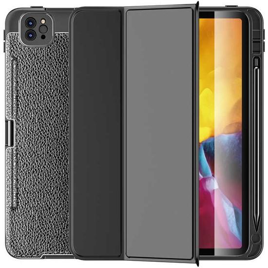 FUJİMAX Apple iPad Pro 11 2021 M1 Çipli A2301 A2459 A2460 Seri Antişok Özellikli Leathshow Kalemlikli Silikon Smart Kılıf +Kalem Siyah