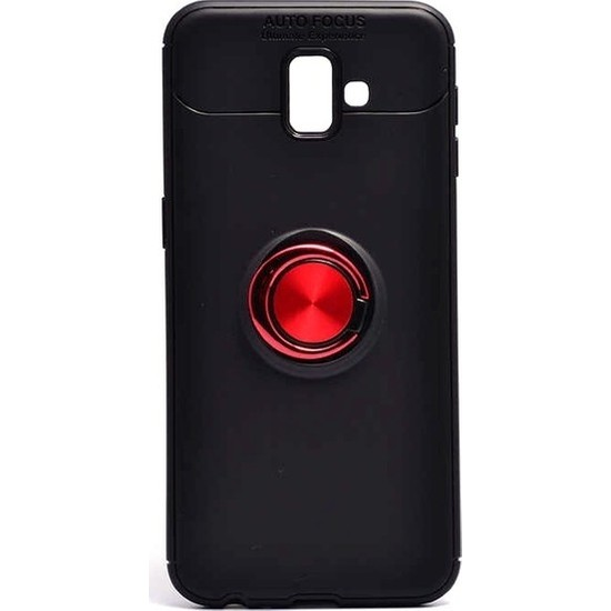 Fibaks Samsung Galaxy J6 Plus Kılıf Autofocus Shockproof Yüzüklü Standlı Silikon