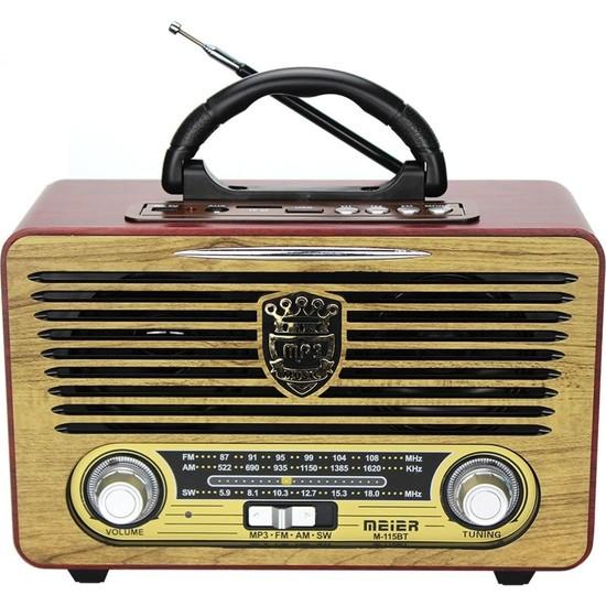 Meier 115 Bt Nostaljik Ahşap Retro Radyo Bluetooth Fm Sd Aux Kumandalı