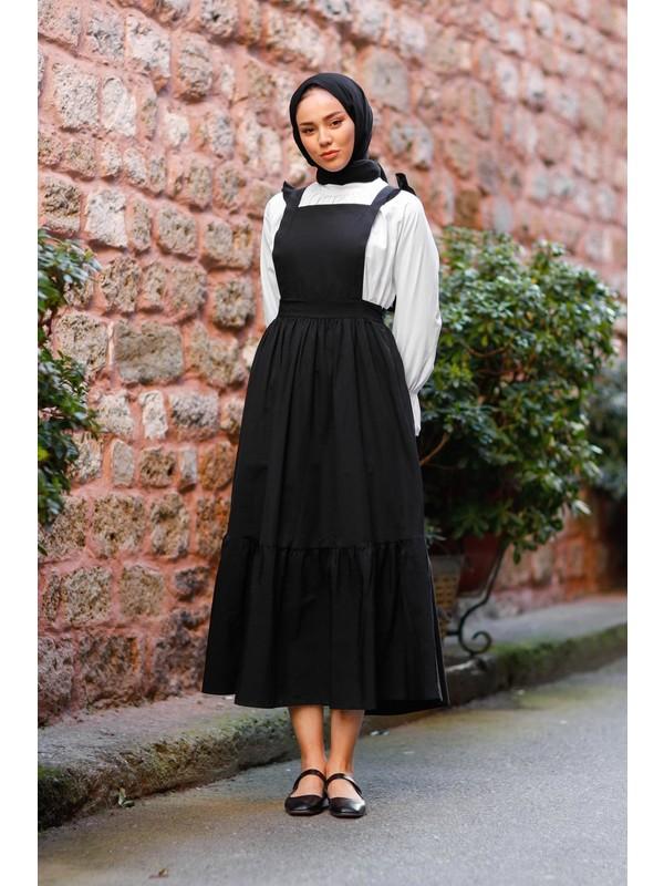 Meqlife Askı Detaylı Jile Elbise Oversize Gömlekli