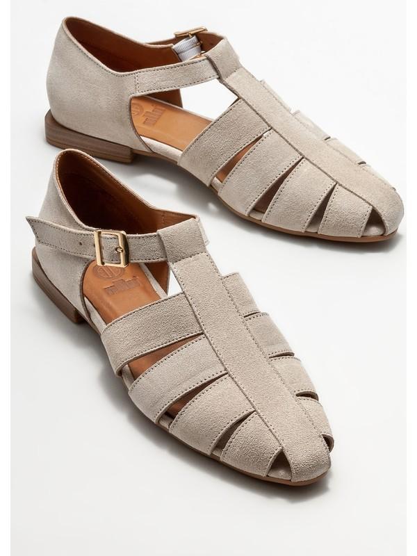 Elle Bej Deri Kadın Düz Ayakkabı