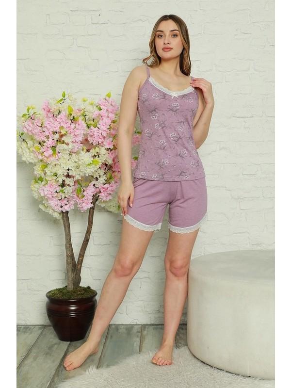 Manolya Dantelli Çiçek Desenli Kadın Pijama Takımı 2465-1 - Mor Mor - Xl