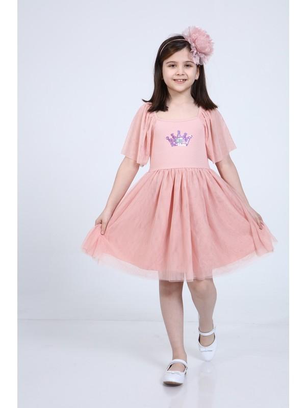 Neslice Kız Çocuk Pembe Eteği 3 Katlı Önü Payet Detaylı Elbise