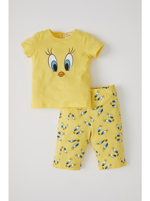DeFacto Kız Bebek Tweety Lisanslı Kısa Kol Pijama Takımı