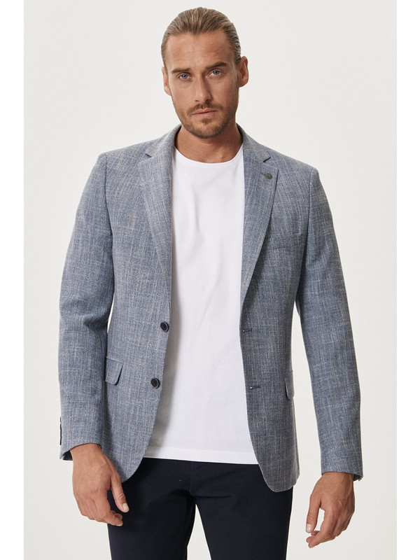 Altınyıldız Classics Slim Fit Dar Kesim Mono Yaka Desenli Casual Ceket