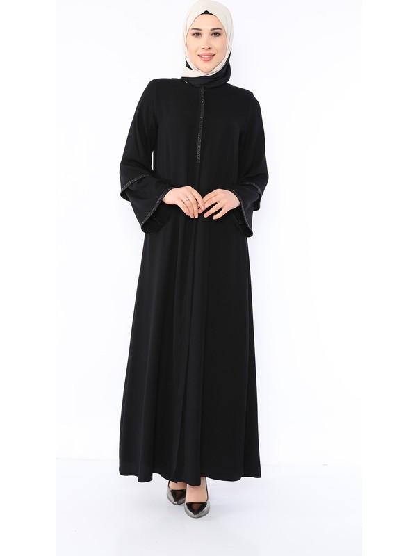 Zeynep Tesettür Kolu Taşlı Model -Siyah