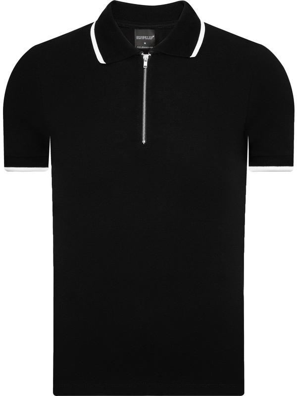 Ghassy Co. Ghassy Co.erkek Siyah Fermuarlı Çizgi Jakarlı Polo Yaka Spor Tshirt