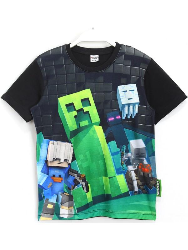 Minecraft Creeper 3D Baskılı Erkek Çocuk Kısa Kollu T-Shirt 5 - 13 Yaş Siyah