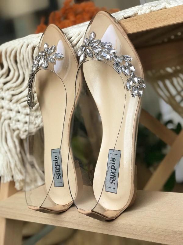 Surpie Shoes Taş Detaylı Şeffaf Nude Kadın Babet