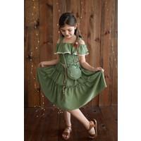 Tivido Askılı Volan Yaka Çantalı Kız Çocuk Elbisesi