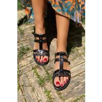 İnan Ayakkabı Kadın Alt ve Üst Çift Bant Ortadan Geçmeli Sandalet
