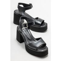 Elle Siyah Deri Kadın Topuklu Sandalet