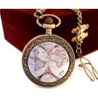 Denacci Eski Dünya Haritası Kapaklı Kişiye Özel Vintage Köstekli Cep Saati Özel Kutusunda