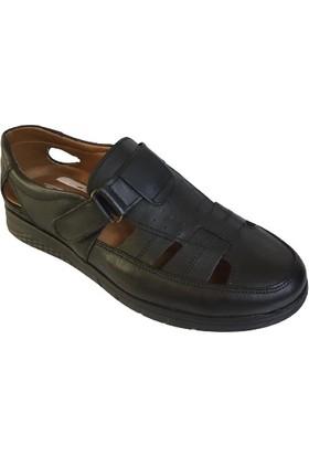 Punto 110M - 599316 Erkek Hakiki Deri Siyah Ortopedık Sandalet Ayakkabı