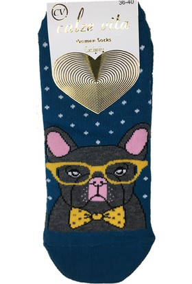 Calze Vita Köpek Desenli Petrol Rengi Kadın Patik Çorabı