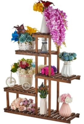 Vip Home Portatif Bahçe Balkon Ahşap Saksılık Çiçeklik Standı Çiçek Rafı VDA-118-5