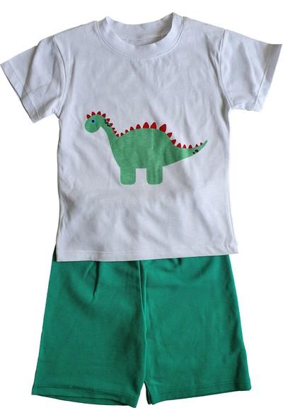 Baby Hil Dinozor Yeşil Erkek Bebek Yazlık Takım