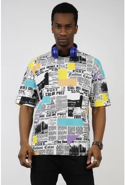 Ozmood Gazete Baskılı Oversize T-Shirt