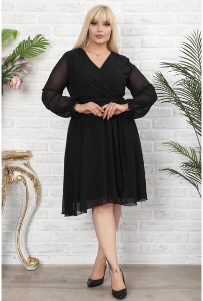1fazlası Kadın Büyük Beden Kruvaze Yaka Astarlı Şifon Elbise