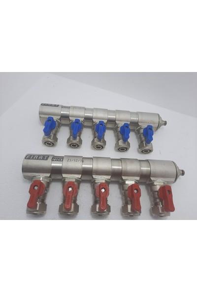 """Fırat 1"""" Mini Küresel Vanalı Kollektör 5 Çıkışlı 2'li Takım (1 Kırmızı+1 Mavi)"""