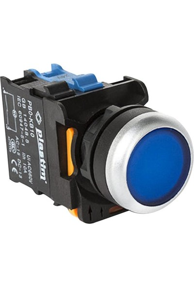 Plastim Işıklı Buton Mavi LED 24V
