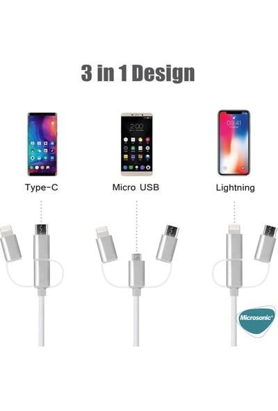 Microsonic 3 In 1 HDtv Kablo, HDMI To Usb, Lightning, Micro Usb, Type-C Dönüştücü Kablo Gri