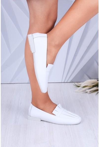 Tuğrul Ayakkabı Hakiki Deri Kare Topuklu Beyaz Kadın Ayakkabı