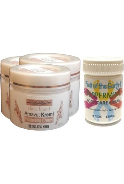 Three Brand 100 ml Arnavut Aklık Kremi 3 Adet + Foot Care Cream Cooling Peppermint 50ML Ayak Bakım Kremi Nane Ferahlığı ve Kokusu 1 Adet