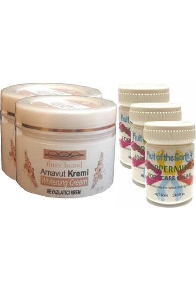 Three Brand 100 ml Arnavut Aklık Kremi 2 Adet + Foot Care Cream Cooling Peppermint 50ML Ayak Bakım Kremi Nane Ferahlığı ve Kokusu 3 Adet