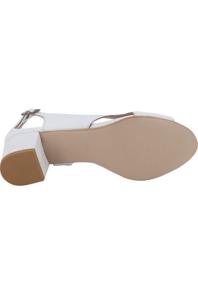 Hobby Beyaz Deri Topuklu Kadın Ayakkabı 0236