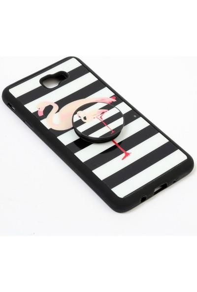 Merwish Case Samsung Galaxy J7 Prime 2 Trend Desenli Pops El ve Telefon Tutuculu Silikon Kılıf Zebra Flamingo