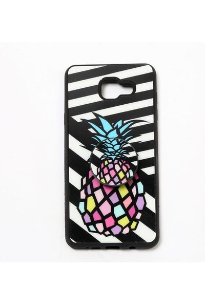 Merwish Case Samsung Galaxy A7 2016 Trend Desenli Pops El ve Telefon Tutuculu Silikon Kılıf Siyah Ananas