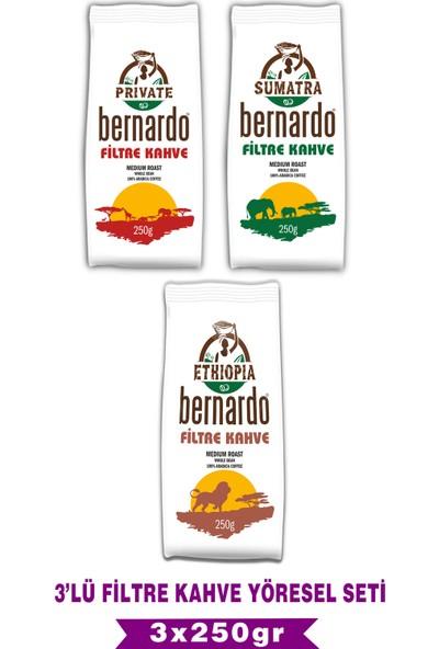 Bernardo Filtre Kahve Yöresel Set 3X250 gr (Ethıopıa-Sumatra-Prıvate)
