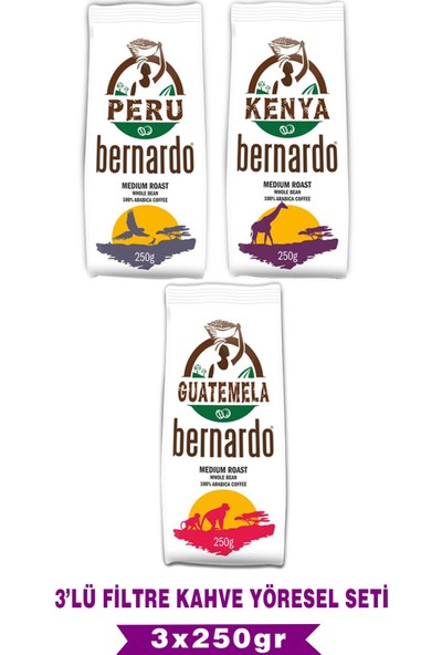Bernardo Filtre Kahve Yöresel Set 3X250 gr (Peru-Kenya-Guatemala)