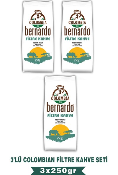 Bernardo Colombian Filtre Kahve 250 gr 3'lü Set
