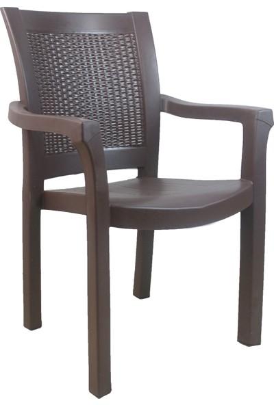 Romanoset Plastik Premium Kahverengi Sandalye 4 Lü Set