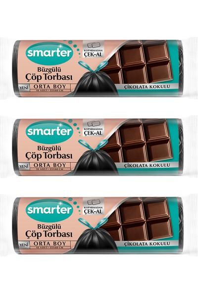 Smarter 3'lü Çikolata Kokulu Büzgülü Orta Boy Çöp Torbası