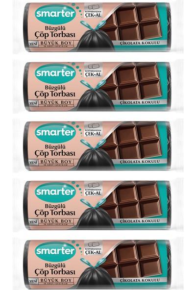 Smarter 5'li Çikolata Kokulu Büzgülü Büyük Boy Çöp Torbası