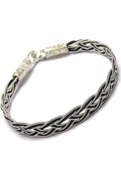 Bigakan Gümüş Bileklik Üç Sıra Örgü Kazaziye Gümüş Bileklik 21CM
